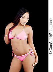 Attractive African American Woman Standing Pink Bikini