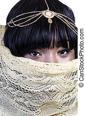 Attractive African American Woman With Gold Cloth Covering Face