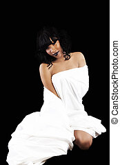Attractive African American Woman Wrapped In White Sheet