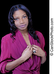 Attractive African American Young Woman in Open Shirt