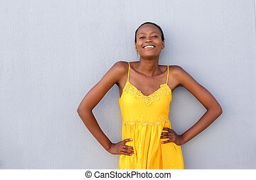 Attractive african woman posing confidently