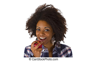 Attractive african woman with apple fruit
