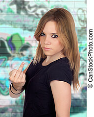 Attractive aggressive woman