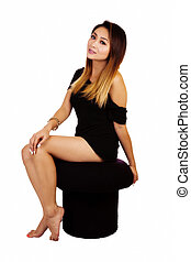 Attractive Asian American Woman Little Black Dress