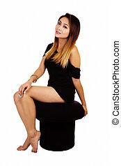 Attractive Asian American Woman Little Black Dress