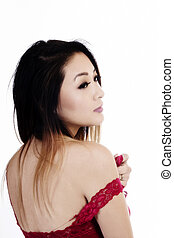 Attractive Asian American Woman Looking Over Shoulder