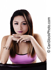 Attractive Asian American Woman Pink Top Chin On Hands