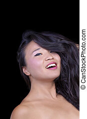 Attractive Asian American Woman Portrait Bare Shoulders