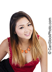 Attractive Asian American Woman Red Top Smiling