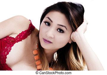 Attractive Asian American Woman Studio Reclining Portrait