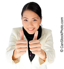 Attractive asian businesswoman with thumbs up