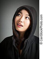 Attractive asian girl 20 years old shot in studio