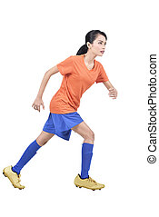 Attractive asian soccer player woman playing soccer