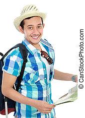 Asian tourist man looking at map