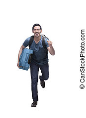 Attractive asian travelling man with suitcase running