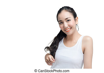 attractive asian woman skin care skinface smiling non make up,pure cosmetic isolated on white studio shot
