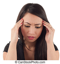 Attractive asian woman with head in hands