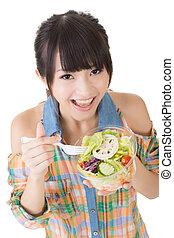 woman eat salad