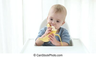 Attractive baby boy eats a banana white background - An...