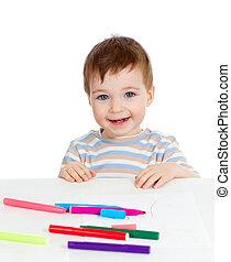 attractive baby boy with color felt pen