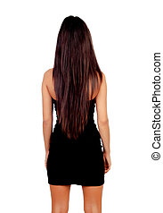 Attractive back brunette girl with long hair