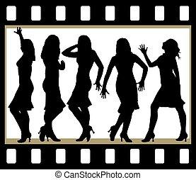 Attractive beautiful girls posing in film frame