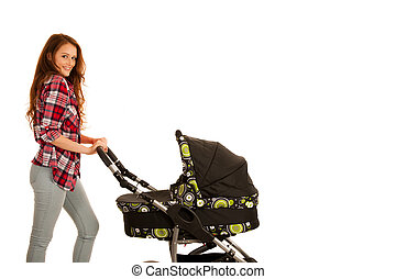 attractive Beautiful young woman with baby carrige isolated over white background