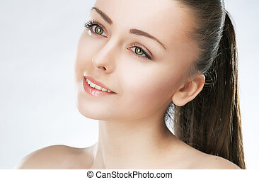 Attractive beauty girl. Healthy skin. Natural makeup. Freshness