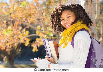 Attractive Black African American Student with Phone