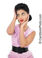 Attractive black hair model looking away