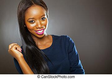 attractive black woman studio portrait
