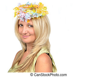 Attractive blond beauty with floral wreath
