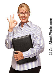 Attractive Blond Businesswoman with Okay Hand Sign on White