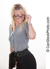 Attractive blond caucasian businesswoman