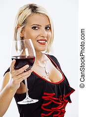 Attractive blond drinking red wine