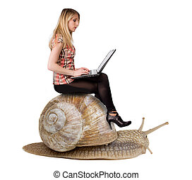 Attractive blond girl with laptop riding on snail. Concept of slowness and modern technologies. Isolated on white background