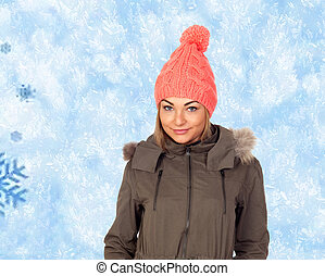 Attractive blond girl with winter clothes
