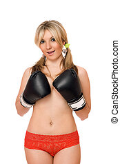 Attractive blond lady in boxers gloves