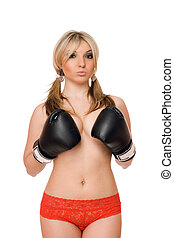 Attractive blond woman in boxers gloves