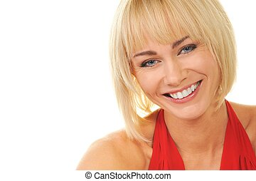 Attractive blond woman isolated on white background