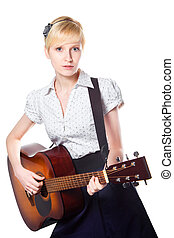 Attractive blond young woman playing guitar on isolated white background