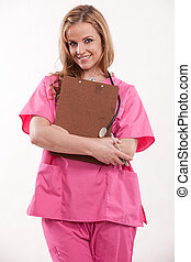 Attractive blonde female caucasian nurse doctor