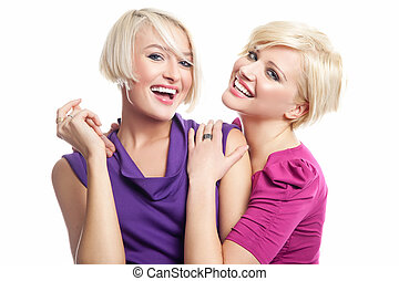 Attractive blonde friens smiling