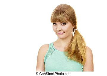 Attractive blonde girl smiling portrait