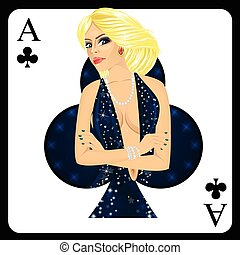 blonde woman representing ace of clubs card from poker game...