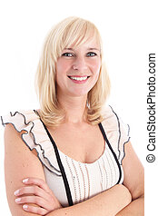 Attractive blonde woman with arms folded
