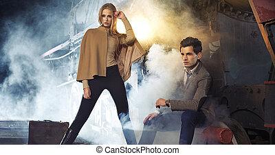 Attractive blonde woman with her boyfriend