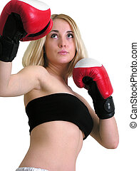 attractive boxer woman in low angle view - attractive boxer...