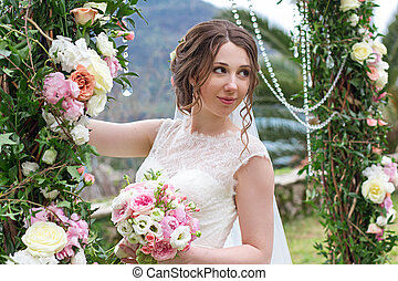 Attractive bride in wedding day
