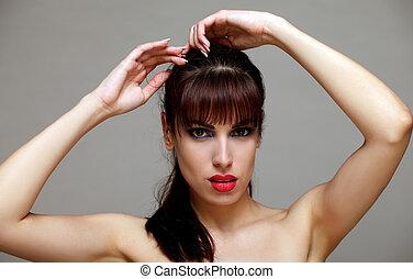 Attractive brunette, closeup